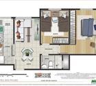 Planta 2 dormitórios-3° opção