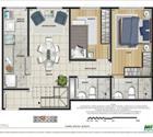 Cobertura 2 quartos com suíte - 1º pavimento