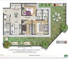 Planta 3 quartos com suíte e área privativa