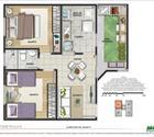 Planta 2 dormitórios com àrea privativa