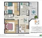 2 dormitórios, 2ª opção - área privativa