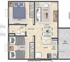 2 quartos com área privativa - 2ª opção