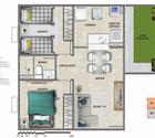 2 quartos com área privativa