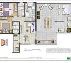 Planta 2 quartos com suíte e terraço
